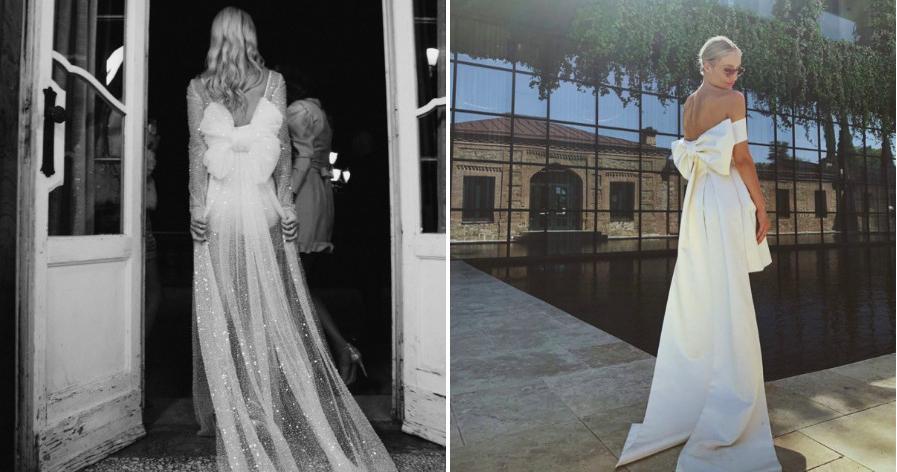 Свадебные платья с крупными бантами – тренд