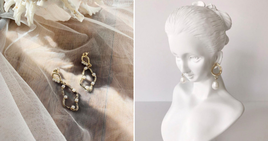 Choose playful pearl earrings for your wedding