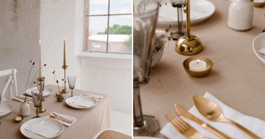 Simplistic wedding table settings for staunch minimalists
