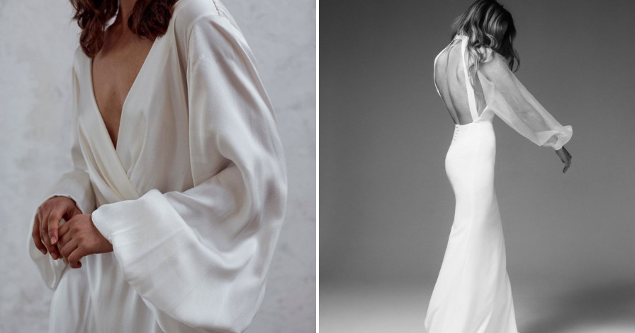 Свадебные платья с объемными рукавами – тренд